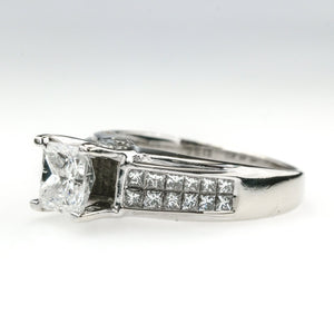1.00ct I1/I Princess Diamond & Side Accents Engagement Ring in 14K White Gold Engagement Rings Oaks Jewelry