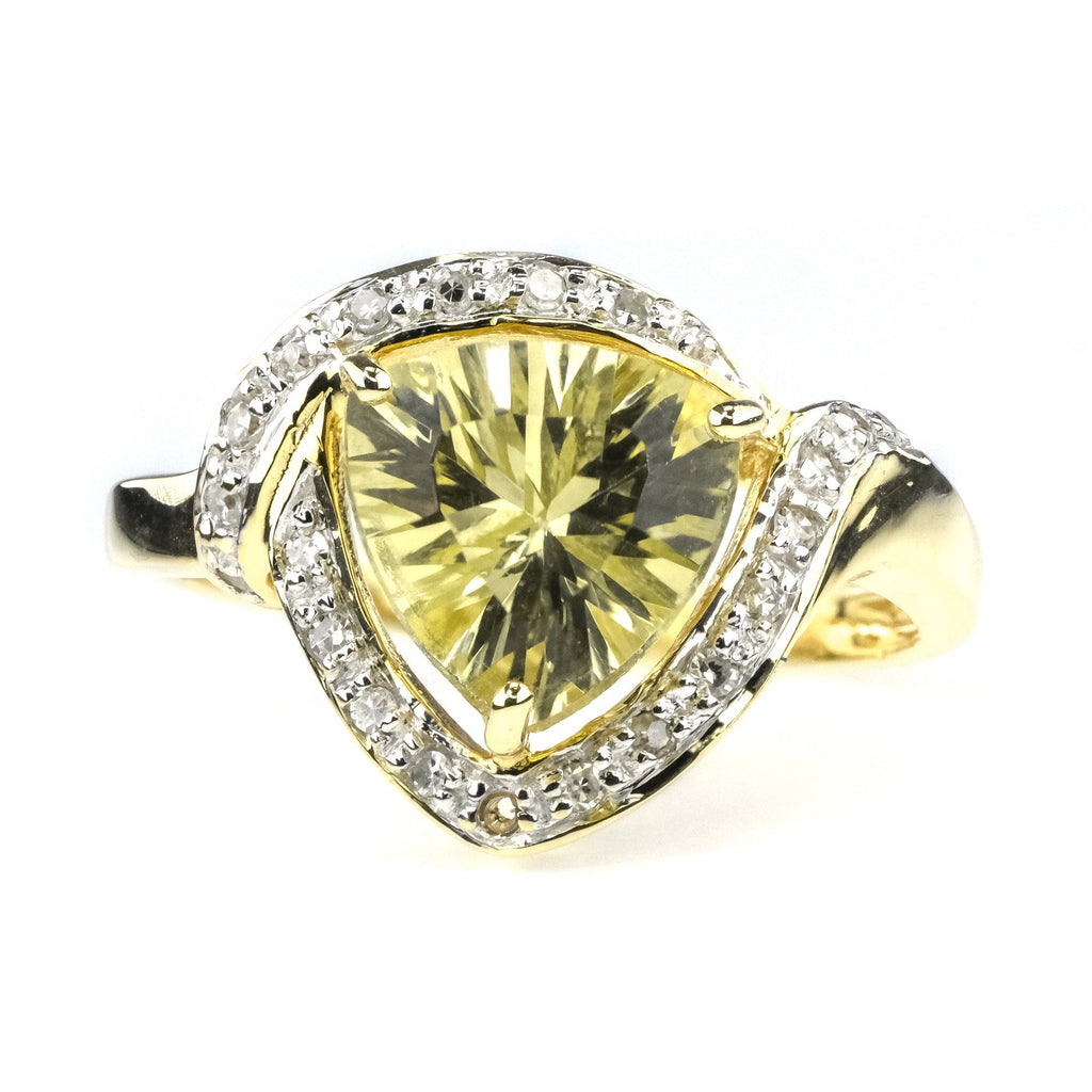 1.00ct Light Green Trillion Cut Quartz Ring with Diamond Halo in 14K Yellow Gold Gemstone Rings Oaks Jewelry