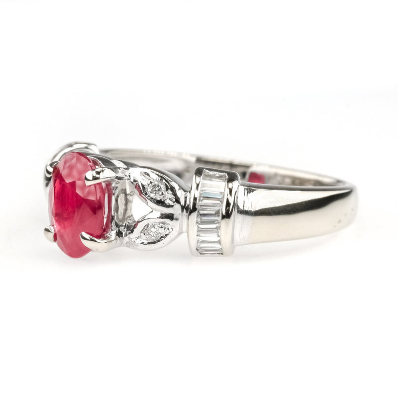 1.00ct Natural Ruby w/ Side Diamond Accents Gemstone Ring in 18K White Gold Gemstone Rings Oaks Jewelry