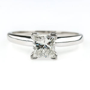 1.00ct Princess Cut Diamond Solitaire Engagement Ring Size 6.5 in 14K White Gold Engagement Rings Oaks Jewelry
