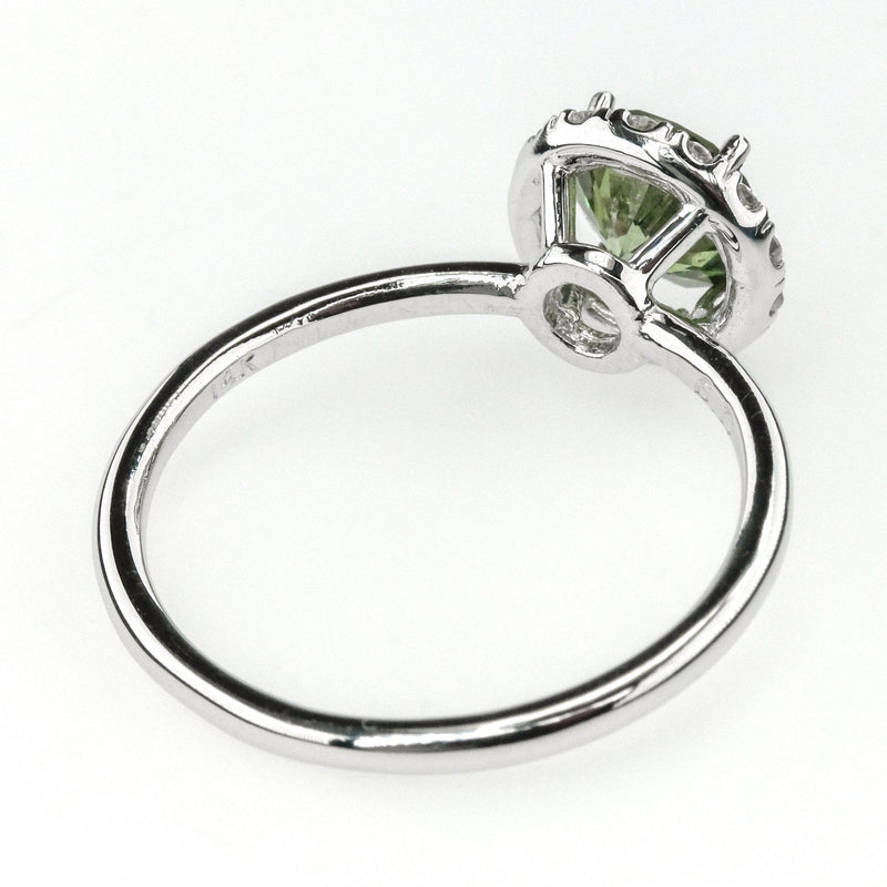 1.00ct Round Enhanced Green Diamond with Halo Engagement Ring in 14K White Gold Engagement Rings Oaks Jewelry