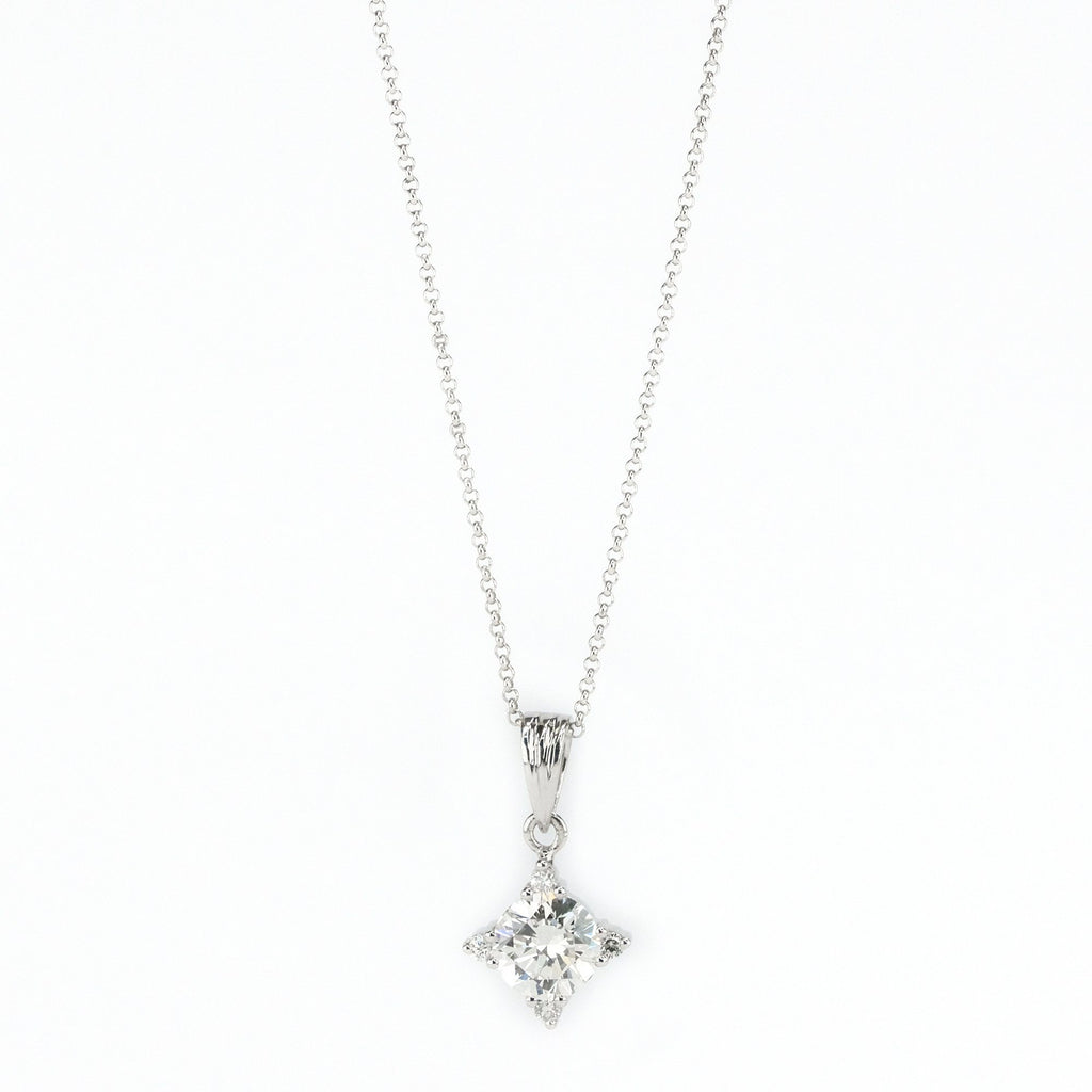 "1.00ct SI1/H Round Diamond & Accents Geometric Pendant on 18"" Chain in Platinum Pendants with Chains Oaks Jewelry"