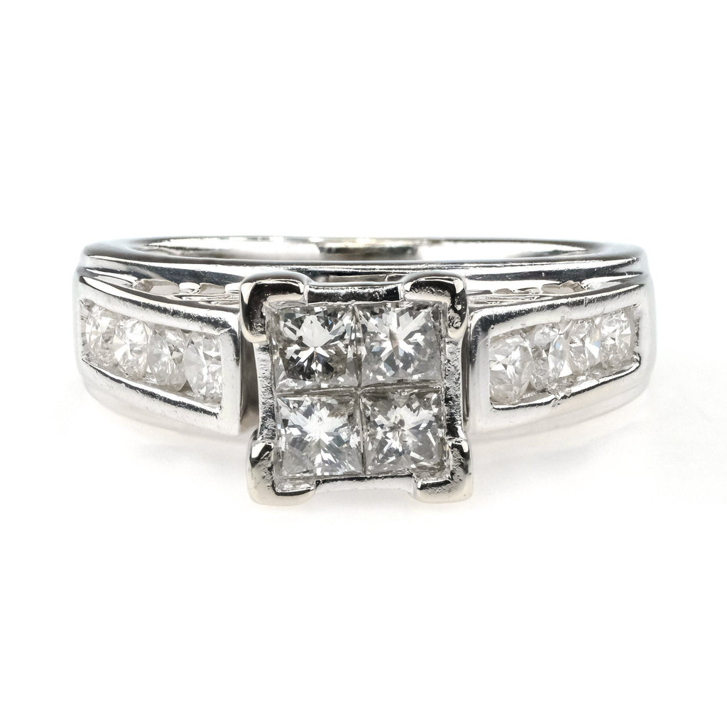 1.00ctw Diamond Quad Cluster w/ Side Accents Engagement Ring in 14K White Gold Engagement Rings Oaks Jewelry