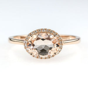 1.00ctw Morganite w/ Diamond Halo Accents Gemstone Ring in 14K Rose Gold Engagement Rings Oaks Jewelry