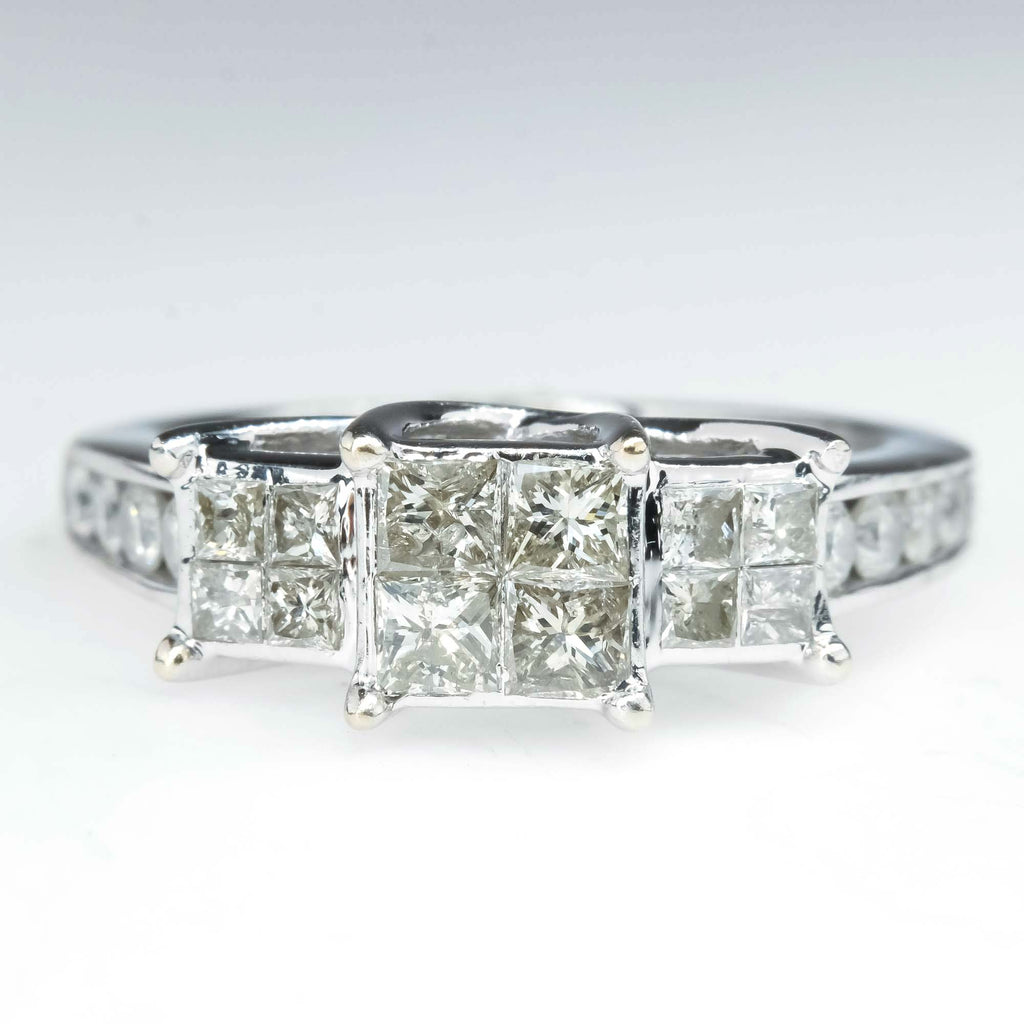 1.00ctw Princess Three Stone Cluster Diamond Engagement Ring in 10K White Gold Engagement Rings Oaks Jewelry