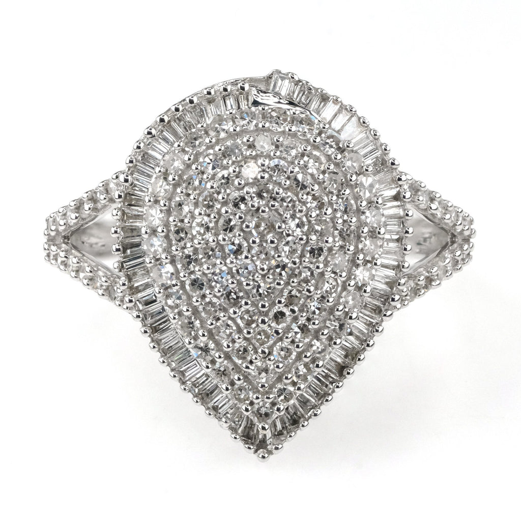 1.00ctw Round & Baguette Diamond Accented Pear Cluster Ring in 10K White Gold Diamond Rings Oaks Jewelry