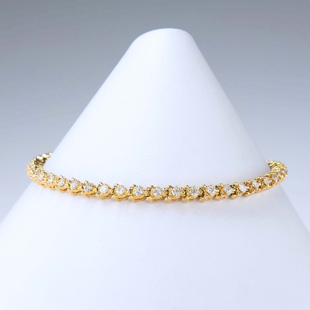 "1.00ctw Round Diamond Tennis Link 7"" Bracelet in 14K Yellow Gold Bracelets Oaks Jewelry"