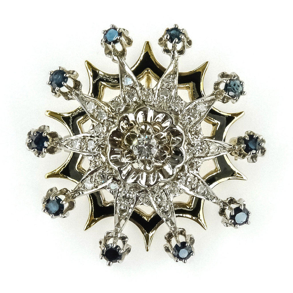 1.00ctw Sapphire & Diamond w/ Black Enamel Brooch in 14K Two Tone Gold Pins and Brooches Oaks Jewelry