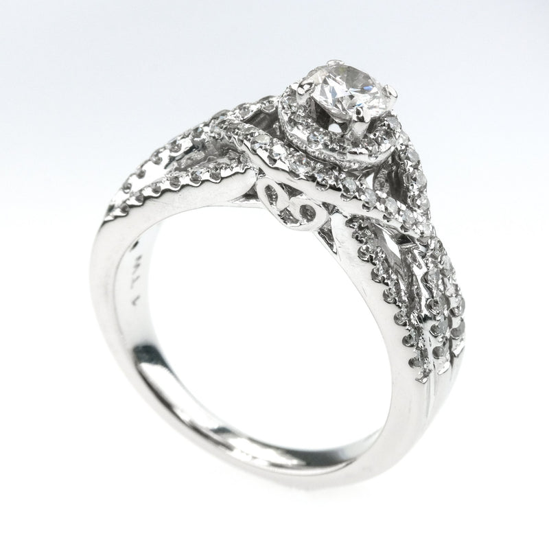 1.00ctw SI2/I Diamond Accented Halo Swirl Engagement Ring in 14K White Gold Engagement Rings Oaks Jewelry