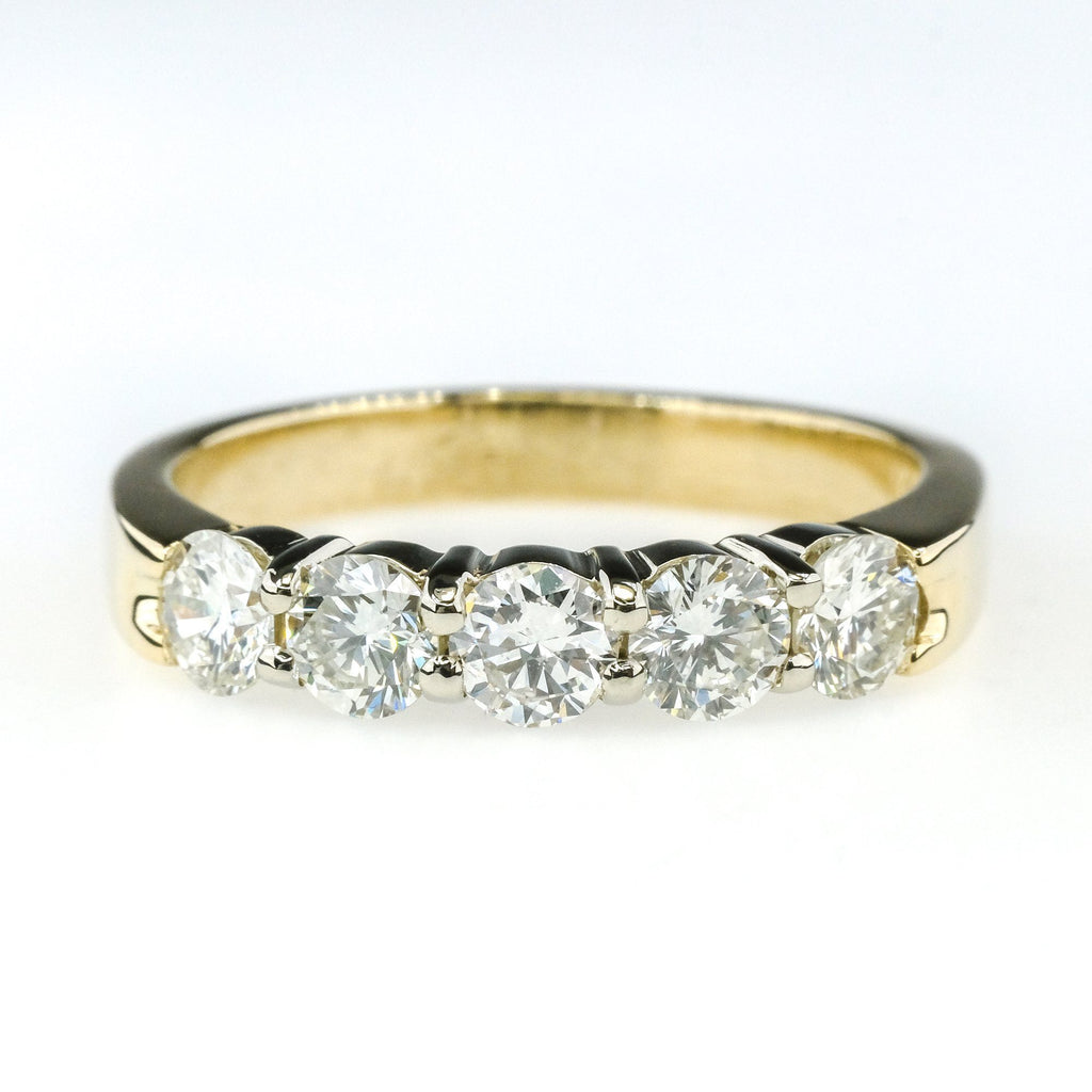 1.00ctw SI2/I-J Diamond Accented Diamond Wedding Band Ring in 14K Yellow Gold Wedding Rings Oaks Jewelry