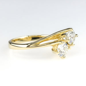 1.00ctw Two Stone Solitaire Diamond Engagement Ring in 14k Yellow Gold Engagement Rings Oaks Jewelry