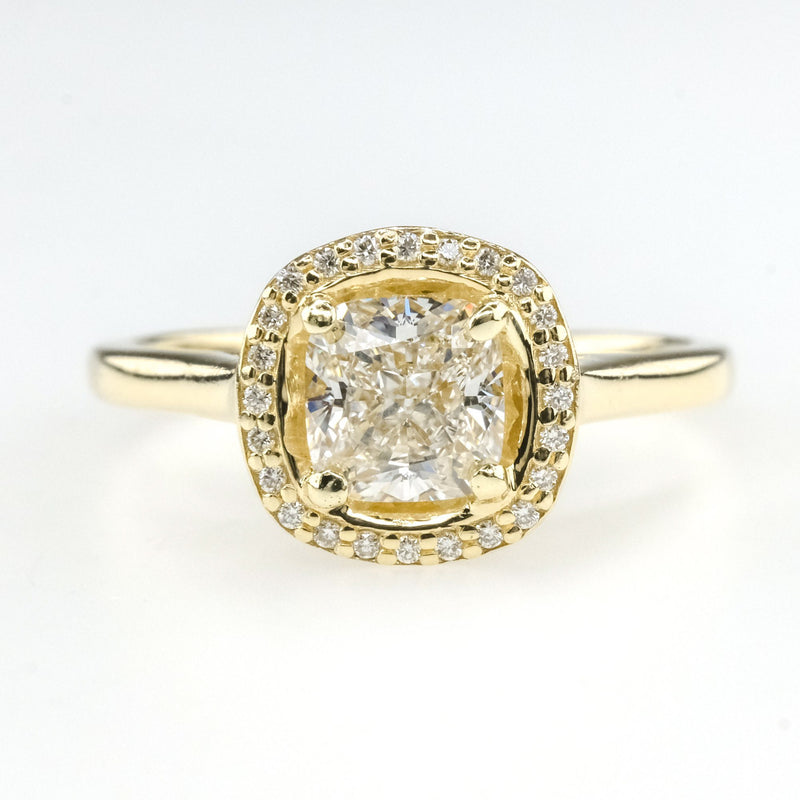 1.01ct Certified VS1/F Cushion Diamond Halo Engagement Ring in 14K Yellow Gold Engagement Rings Oaks Jewelry