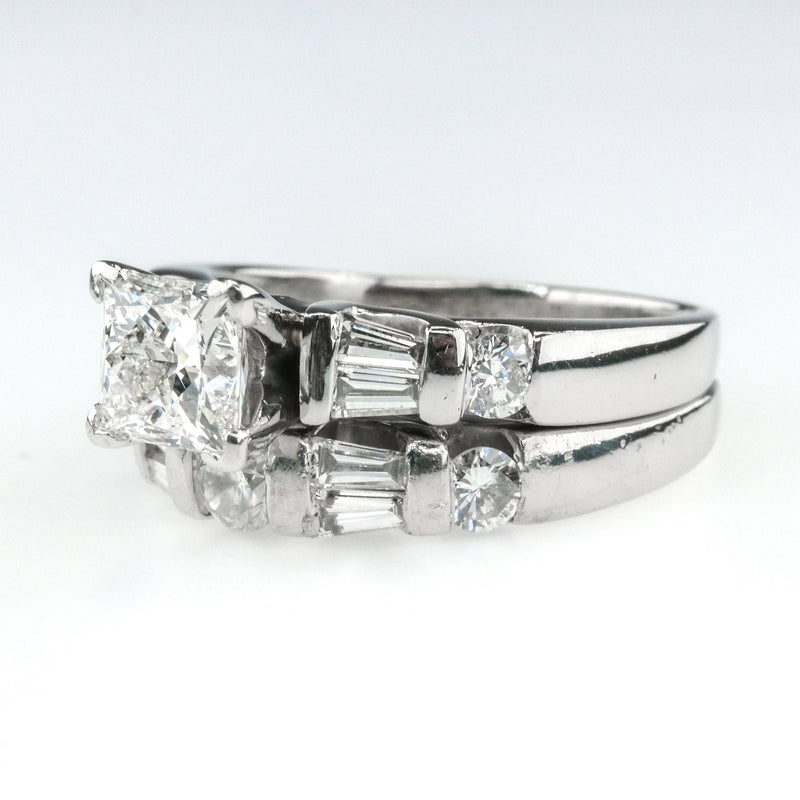 1.01ct Leo Princess Cut Diamond w/Side Accents Bridal Set in Platinum Bridal Sets Leo