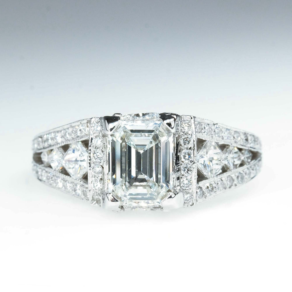 1.02ct Emerald Cut Diamond SI1/H Split Shank Engagement Ring in 14K White Gold Engagement Rings Oaks Jewelry