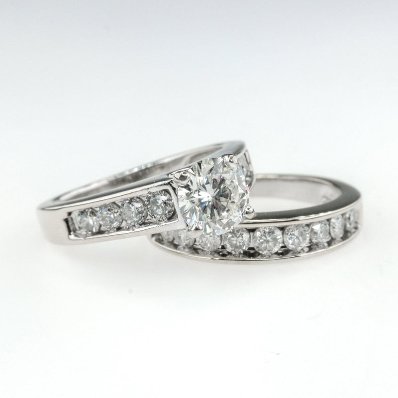 1.03ct GIA I1/I Round Diamond w/ Accents Bridal Set in 14K White Gold Bridal Sets Oaks Jewelry