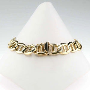 "10.5mm Wide Anchor Mariner Link 8.5"" Chain Bracelet in 14K Yellow Gold Bracelets Oaks Jewelry"