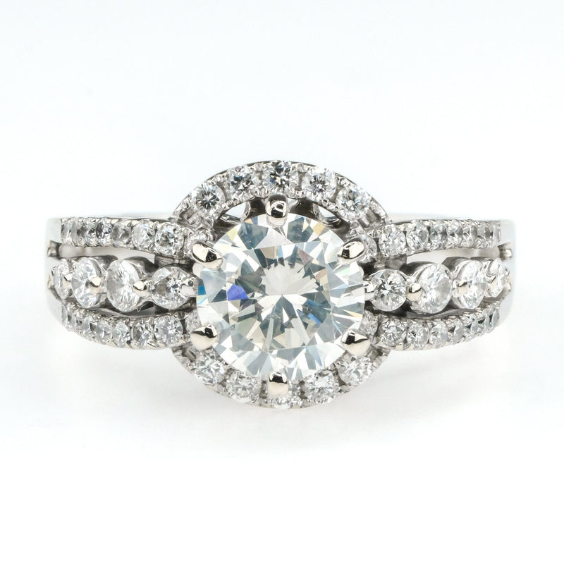 1.06ct GIA Round Diamond w/Halo & Side Accents Engagement Ring in 18K White Gold Engagement Rings Oaks Jewelry
