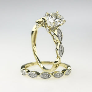 1.08 GIA Round Diamond w/ Side Accents Bridal Wedding Set in 14K Yellow Gold Bridal Sets Oaks Jewelry