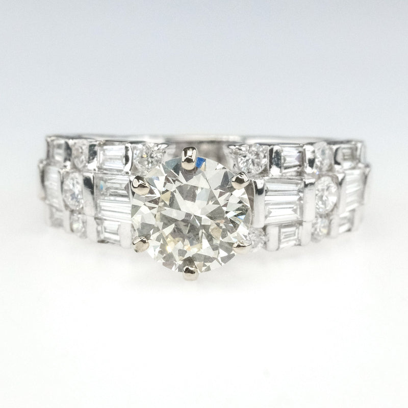 1.09ct GIA Round Diamond SI1/M Side Accented Engagement Ring in 18K White Gold Engagement Rings Oaks Jewelry
