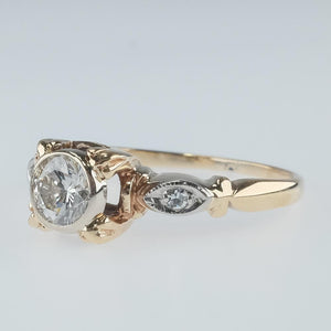 10K Two Tone 0.50ct Round Diamond Bezel Set Vintage Art Deco Engagement Ring Engagement Rings Oaks Jewelry