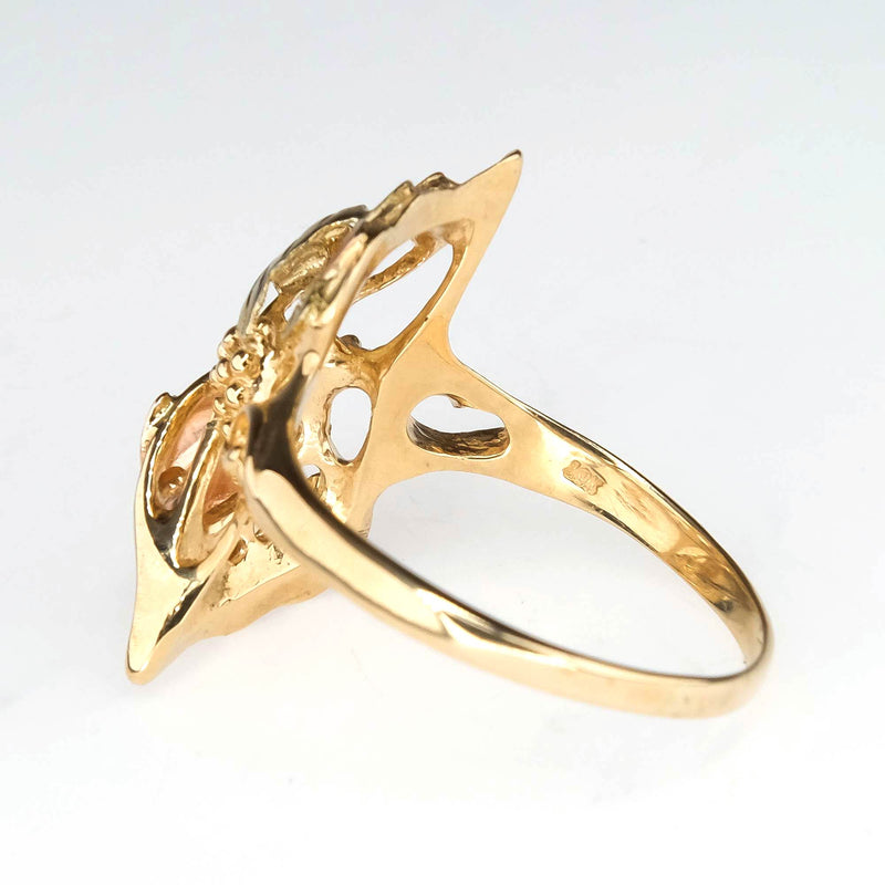 10K Two Tone Gold Grapes and Leaves Statement Ring in Size 14 Metal Rings Oaks Jewelry