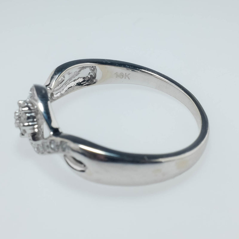 10K White Gold 0.19ctw Round Diamond Cluster & Side Accented Twist Promise Ring Engagement Rings Oaks Jewelry