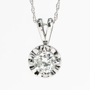10K White Gold 0.50ct Round Diamond SI2/H Illusion Set Solitaire Pendant & Chain Pendants with Chains Oaks Jewelry