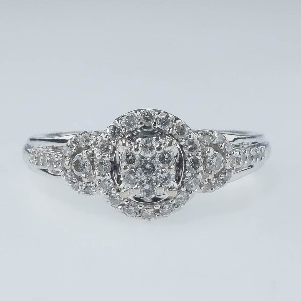 10K White Gold 0.50ctw Diamond Cluster Halo & Side Accent Engagement Ring Size 6 Engagement Rings Oaks Jewelry