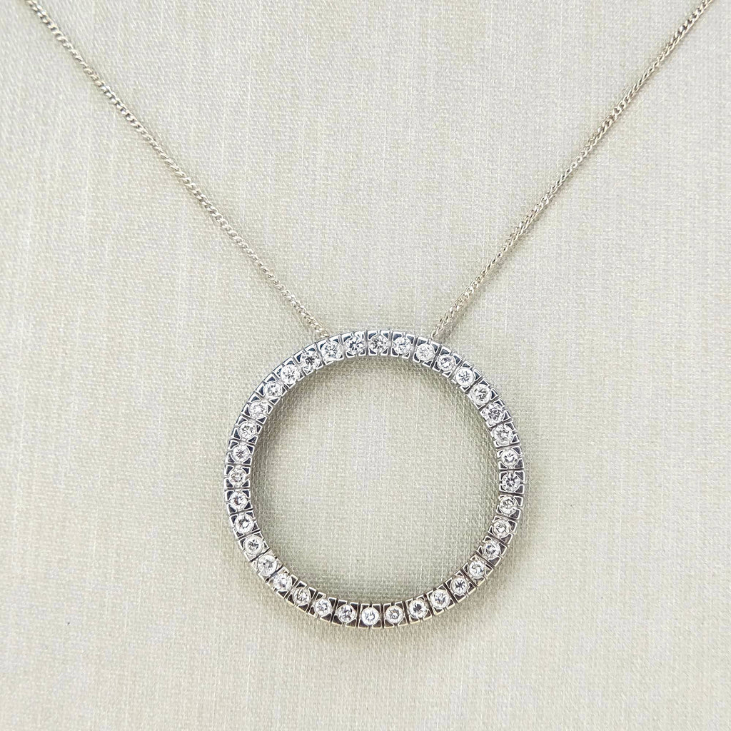 "10K White Gold 0.50ctw Diamond Eternity Pendant & 19"" Curb Chain Pendants with Chains Oaks Jewelry"