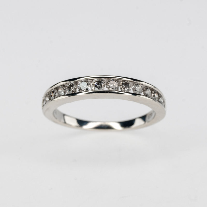 10K White Gold 0.50ctw Round Diamond Accented Channel Wedding Band Ring Size 7 Wedding Rings Oaks Jewelry
