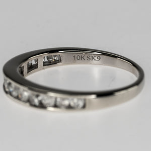10K White Gold 0.50ctw Round Diamond Accents Channel Wedding Band Ring Size 6.75 Wedding Rings Oaks Jewelry