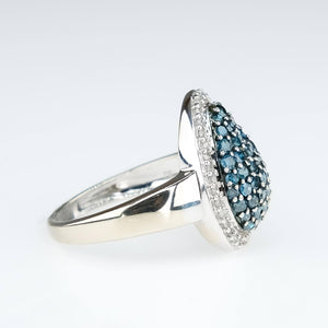 10K White Gold 1.40ctw Color Enhanced Blue Diamond Cluster Halo Ring Size 8.25 Diamond Rings Oaks Jewelry