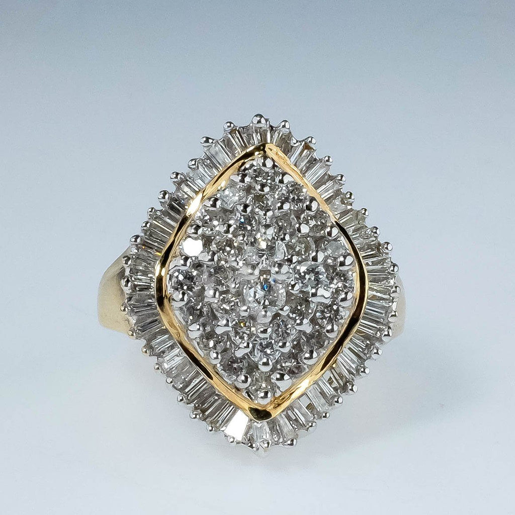 10K Yellow Gold 1.70ctw Round & Baguette Diamond Cluster Cocktail Ring Size 9.5 Diamond Rings Oaks Jewelry