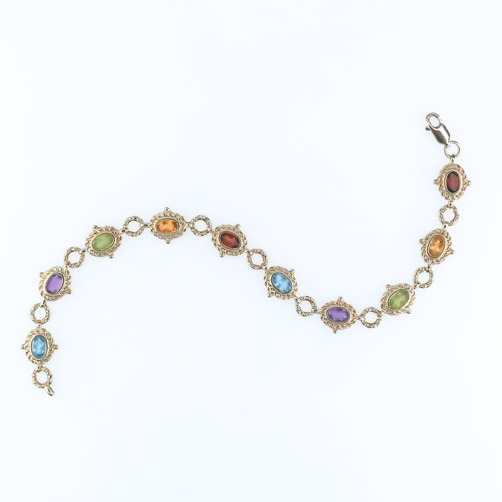 10K Yellow Gold 2.00ctw Multi-Color Gemstone Fancy Link 7.5' Bracelet - 8.8 grams Bracelets Oaks Jewelry