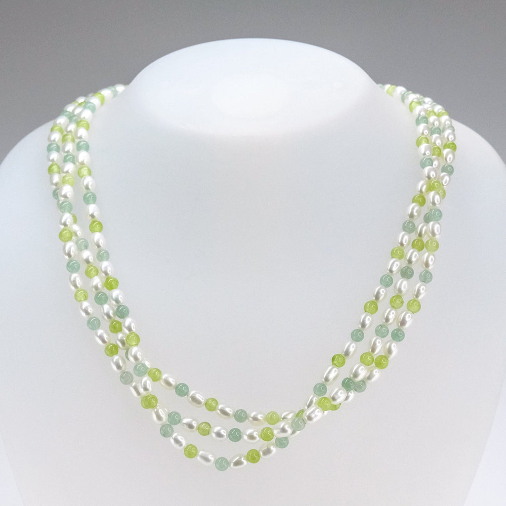 "10K Yellow Gold Pearl, Serpentine, & Aventurine Three Strand 18"" Necklace Necklaces Oaks Jewelry"