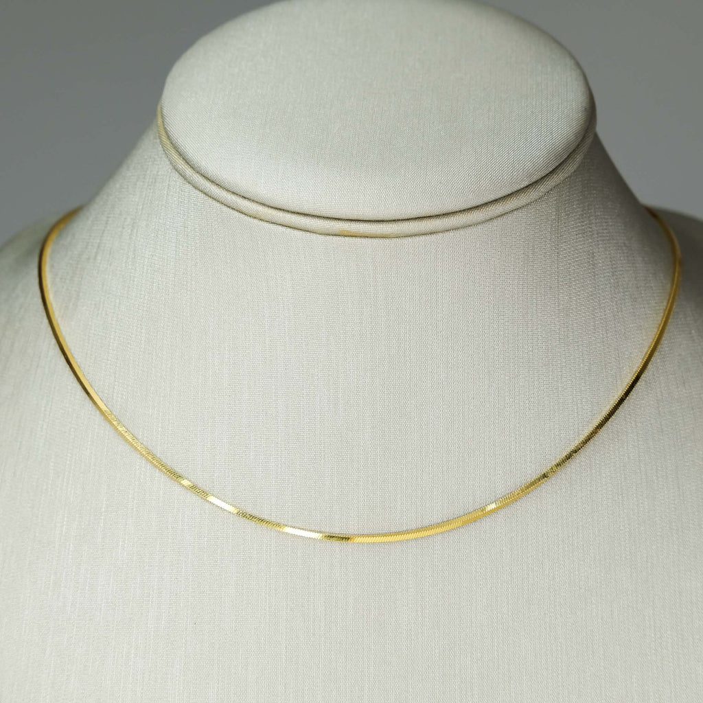 "1.0mm Wide Square Snake 18"" Chain Necklace in 14K Yellow Gold Chains Oaks Jewelry"