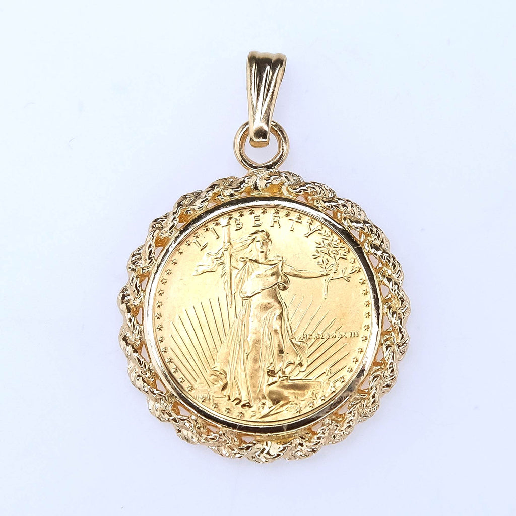1/10 oz Gold American Eagle Liberty Coin in 14K Yellow Gold Rope Bezel Pendant Pendants Oaks Jewelry