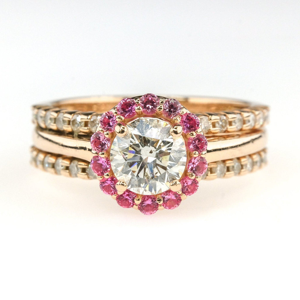 1.12ctw Diamond w/ & Pink Sapphire Accented Engagement Ring in 10/14K Rose Gold Engagement Rings Oaks Jewelry
