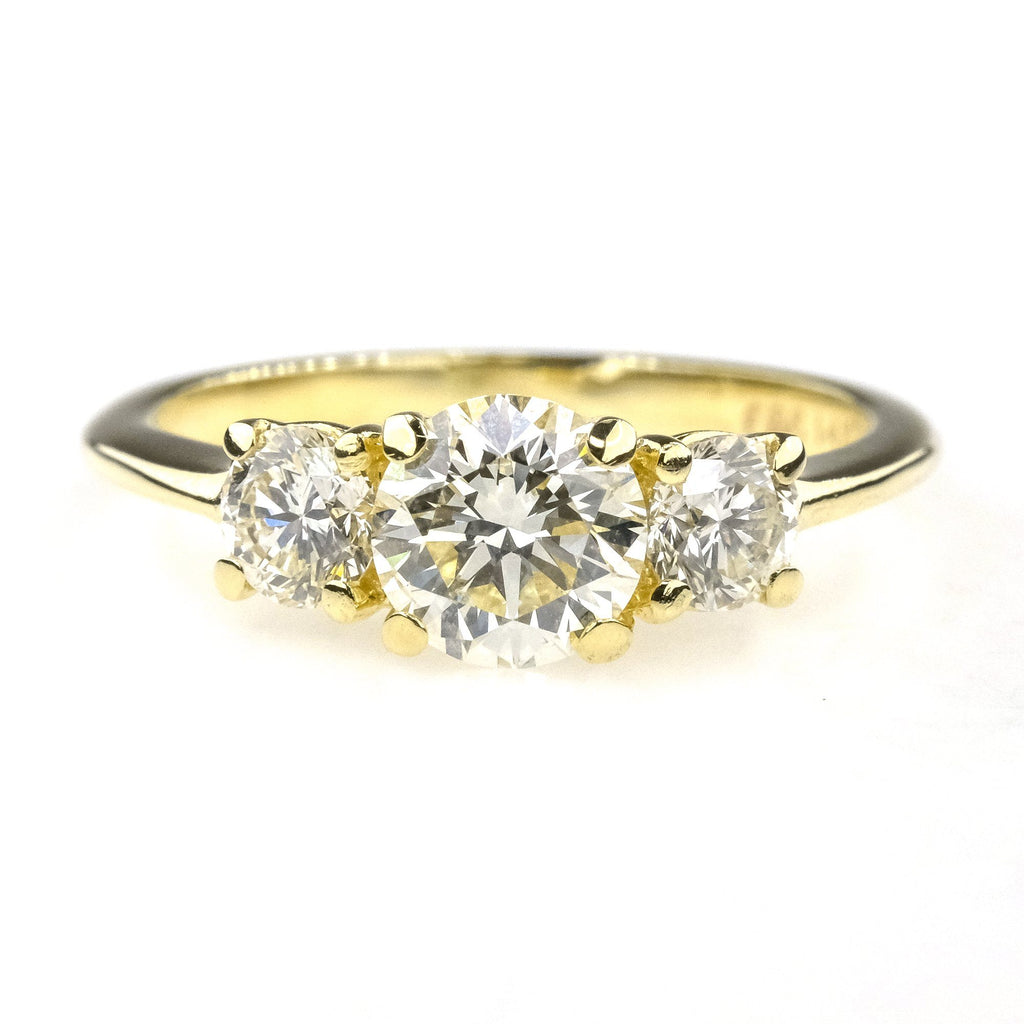 1.15ctw Round Diamond Three Stone Engagement Ring in 14K Yellow Gold Engagement Rings Oaks Jewelry