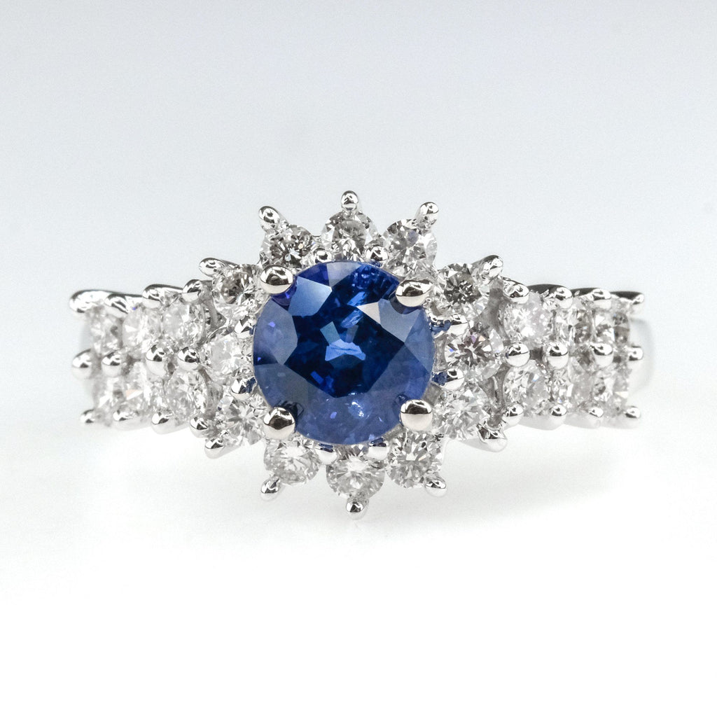 1.16ct Sapphire & Diamond Halo Side Accented Gemstone Ring in 18K White Gold Gemstone Rings OaksJewelry