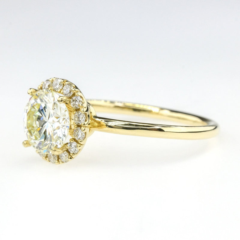 1.18ct GIA Round Brilliant Diamond Halo Engagement Ring in 14K Yellow Gold Engagement Rings Oaks Jewelry