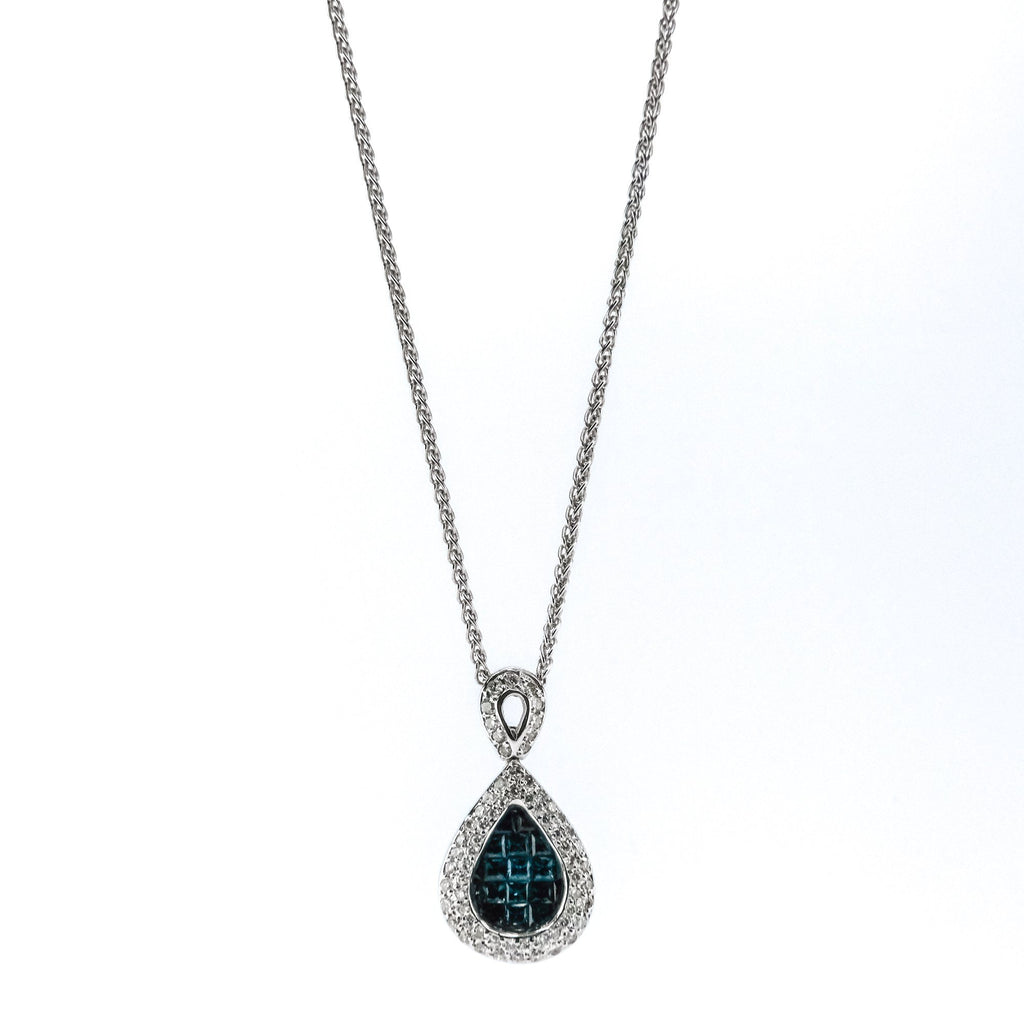 "1.19ctw Sapphire w/ Diamond Accented Pendant 16"" Necklace in 14/18K White Gold Pendants with Chains Oaks Jewelry"