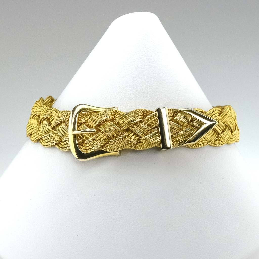 "11mm Wide Adjustable Mesh Belt 8.5"" Bracelet in 14K Yellow Gold Bracelets Oaks Jewelry"