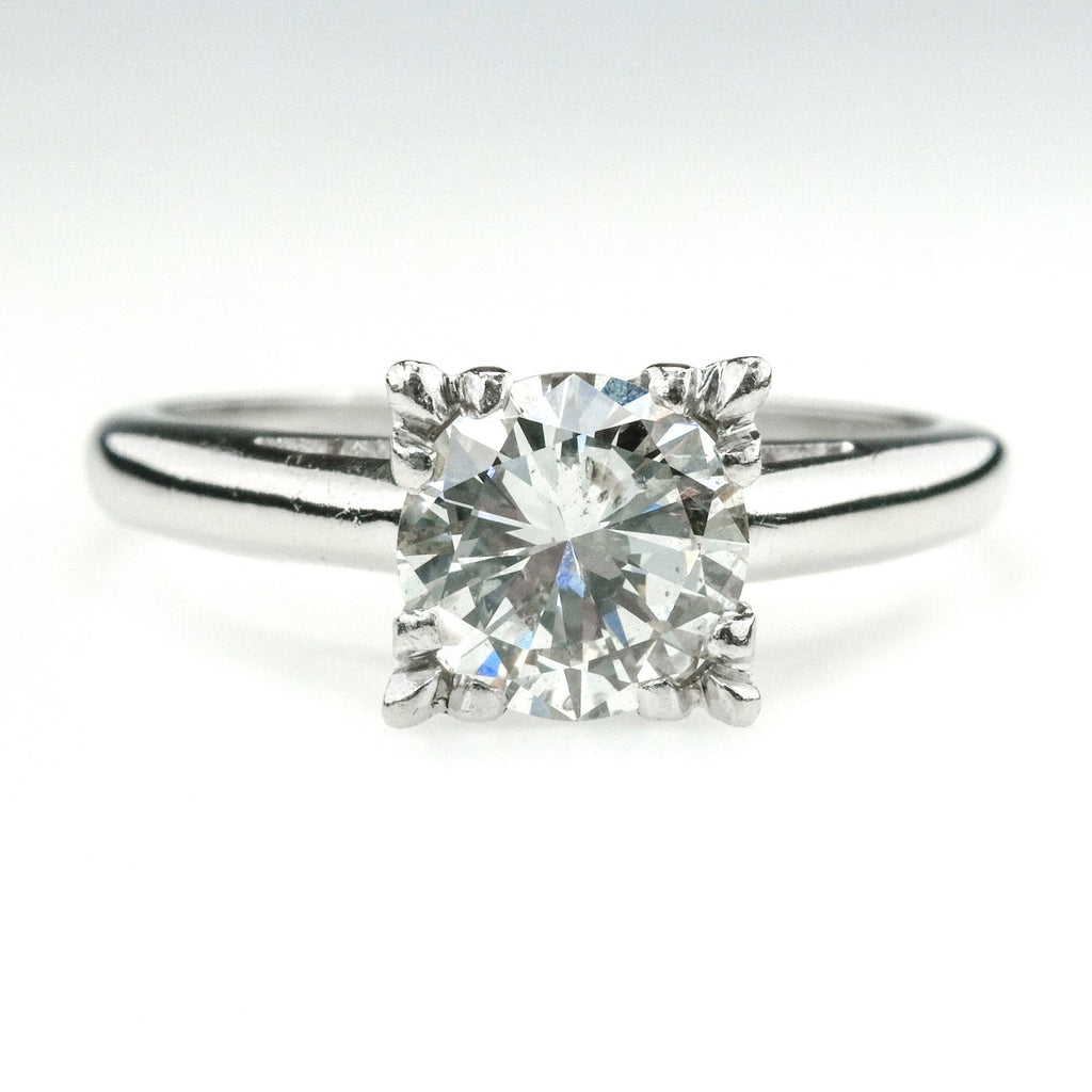1.20ct Round Diamond Vintage Solitaire Engagement Ring Size 6.5 in Platinum Engagement Rings Oaks Jewelry