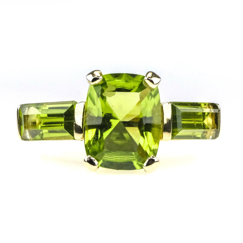 1.20ctw Peridot Gemstone Three Stone Ring in 10K Yellow Gold - Size 4.5 Gemstone Rings Oaks Jewelry