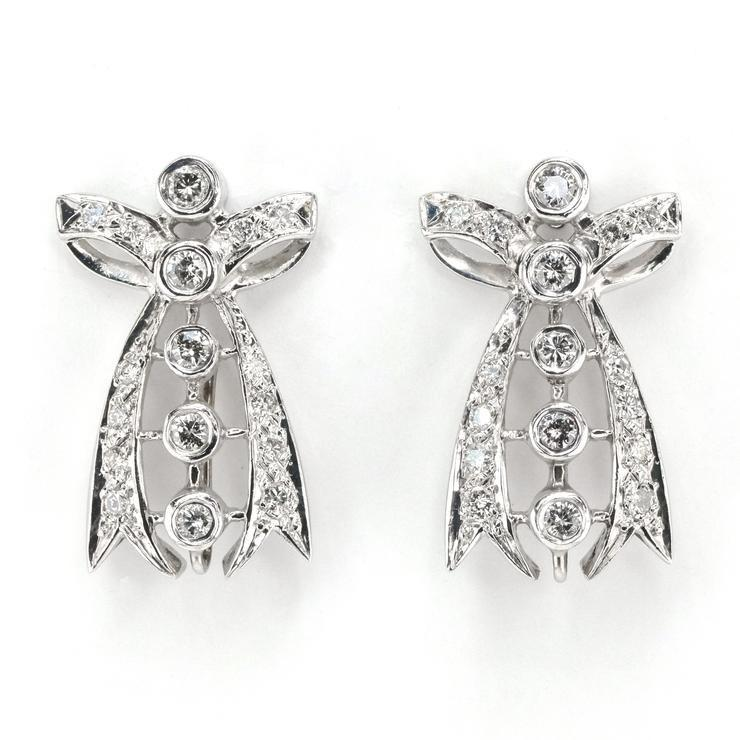1.20ctw Round Diamond Accented Bow Tie Design Drop Earrings in 14K White Gold Earrings Oaks Jewelry