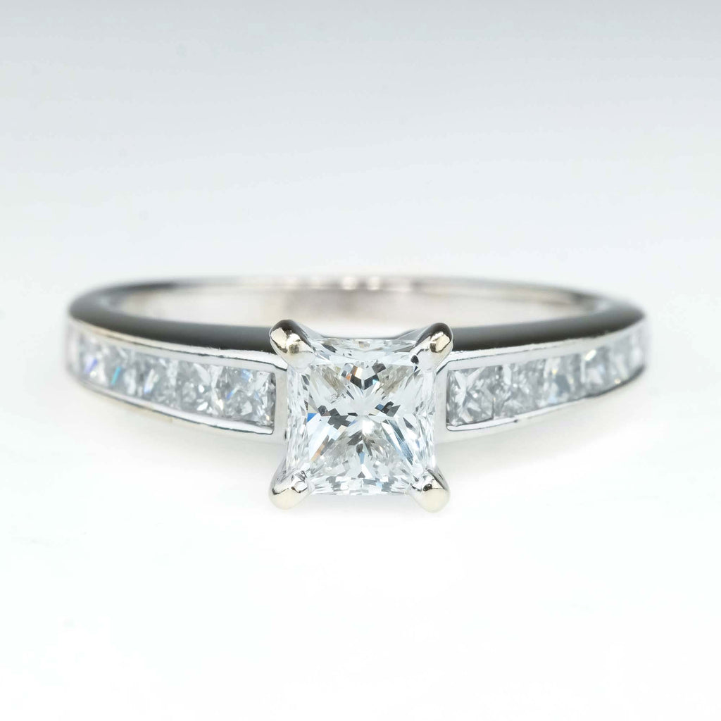 1.21ctw Princess Diamond Channel Engagement Ring in 14K White Gold Engagement Rings Oaks Jewelry