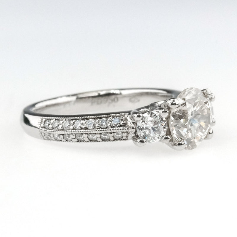 1.25ct EGL Diamond w/Side Accents Engagement Ring in Platinum Engagement Rings Oaks Jewelry