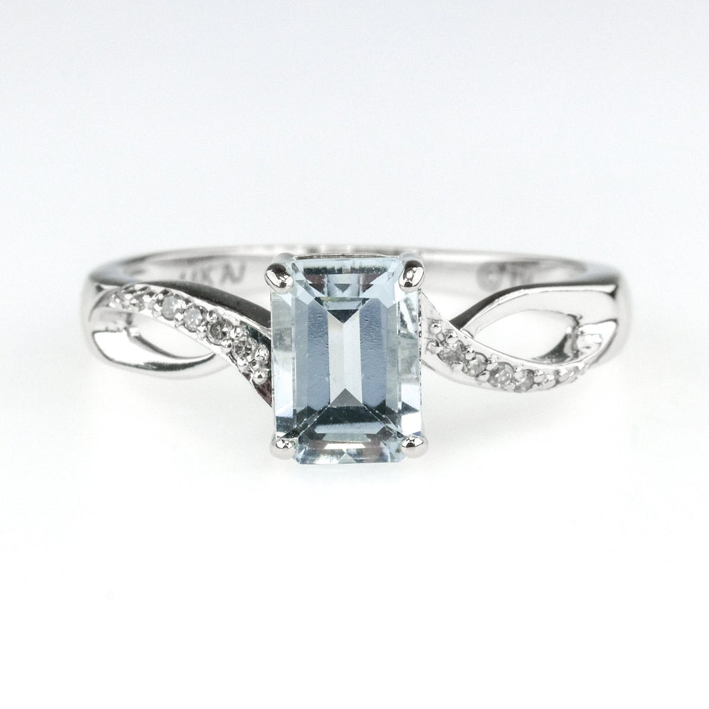 1.25ct Emerald Cut Aquamarine w/ Diamond Accents Gemstone Ring in 14K White Gold Engagement Rings Oaks Jewelry