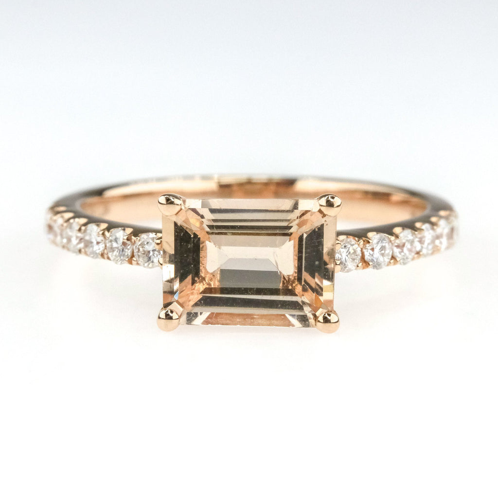 1.25ct Emerald Cut Morganite w/ Diamond Accents Gemstone Ring in 14K Rose Gold Engagement Rings Oaks Jewelry